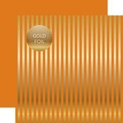 Orange Gold Stripes Fall Foil Paper - Echo Park