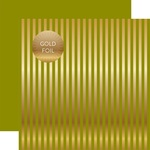 Green Gold Stripes Fall Foil Paper - Echo Park