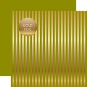 Green Gold Stripes Fall Foil Paper - Echo Park