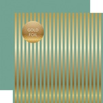 Teal Gold Stripes Fall Foil Paper - Echo Park