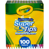 100/Pkg - Crayola Super Tips Washable Markers Crayola-Super Tips Washable Markers: 100 Pack. The durable conical tip allows for thin lines from the point and thicker lines when held at an angle. They lay down lots of brilliant color yet don't bleed through most paper. Specially formulated to easily wash from skin and most childrens clothing. This package contains 100 6.5 inch washable markers of assorted colors. WARNING: Choking Hazard. Not suitable for children under 36 months. Conforms to ASTM D4236. Imported.
