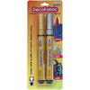 Gold/Silver - DecoFabric Markers 2/Pkg Marvy Uchida-DecoFabric Markers Two Pack. Permanent, non-toxic, pigmented opaque paint markers that work on dark and light fabric. Ideal for decorating clothing, costumes, T-shirts, aprons, tote bags, backpacks, denim and canvas. WARNING: Choking Hazard. Not suitable for children under 36 months. Conforms to ASTM D4236. Imported.