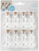 Clear Curvy W/Cork, 8/Pkg - With Love By Momenta Mini Glass Bottles