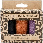 Lavender, Orange-Gold, Black; 20yd Each - Waxed Linen 5 Ply Thread 3/Pkg