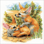 "10""X10"" 14 Count - Desert Foxes Counted Cross Stitch Kit"