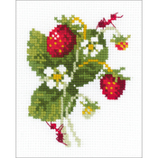 """5.25""""X6.5"""" 10 Count - Wild Strawberry Counted Cross Stitch Kit"""