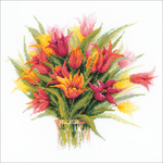 "15.75""X15.75"" 10 Count - Tulips In A Vase Counted Cross Stitch Kit"
