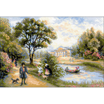 """15""""X10.5"""" 10 Count - Walk In The Park Counted Cross Stitch Kit"""