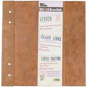 "Faux Leather W/Metal Accents, 40 Sheets - 7 Gypsies Architextures Ledger Book 12""X12"""