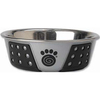 Gray/Black - PetRageous Designs Stainless Steel Bowl - Holds 1.75 Cups Petrageous Designs-Fiji Stainless Steel Bowl: Black and Gray, 1.75 cup. Fiji stainless steel bowls are a perfect mix of function and style. The non-slip TPE is designed to prevent the bowls from slipping or scratching the floor. It hugs the exterior of the bowl offering a sleek and decorative pattern. Top rack dishwasher safe. Bowl is 5.5 inches in diameter. Imported.