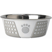 White/Gray - PetRageous Designs Stainless Steel Bowl - Holds 3.75 Cups