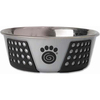Gray/Black - PetRageous Designs Stainless Steel Bowl - Holds 3.75 Cups Petrageous Designs-Fiji Stainless Steel Bowl: Black and Gray, 3.75 cup. Fiji stainless steel bowls are a perfect mix of function and style. The non-slip TPE is designed to prevent the bowls from slipping or scratching the floor. It hugs the exterior of the bowl offering a sleek and decorative pattern. Bowl is 6.75 inches in diameter. Top rack dishwasher safe. Imported.