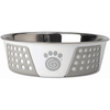 White/Gray - PetRageous Designs Stainless Steel Bowl - Holds 6.5 Cups Petrageous Designs-Fiji Stainless Steel Bowl: White and Gray, 6.75 cup. Fiji stainless steel bowls are a perfect mix of function and style. The non-slip TPE is designed to prevent the bowls from slipping or scratching the floor. It hugs the exterior of the bowl offering a sleek and decorative pattern. Bowl is 8.5 inches in diameter. Top rack dishwasher safe. Imported.