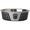 Gray/Black - PetRageous Designs Stainless Steel Bowl - Holds 6.5 Cups Petrageous Designs-Fiji Stainless Steel Bowl: Black and Gray, 6.75 cup. Fiji stainless steel bowls are a perfect mix of function and style. The non-slip TPE is designed to prevent the bowls from slipping or scratching the floor. It hugs the exterior of the bowl offering a sleek and decorative pattern. Bowl is 8.5 inches in diameter. Top rack dishwasher safe. Imported.