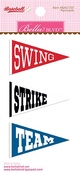 Swing, Strike, Team - Baseball Self-Adhesive Felt Pennants 3/Pkg