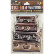 "4 Stacked Leather Suitcases 4"" - 7 Gypsies Architextures Treasures Adhesive Embellishments"