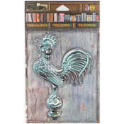 "Weathered Patina Metal Rooster 4"" - 7 Gypsies Architextures Treasures Adhesive Embellishments"