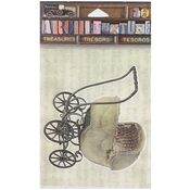 "Wicker Woven Baby Carriage 3.25"" - 7 Gypsies Architextures Treasures Adhesive Embellishments"