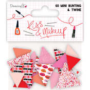 60 Pennants & Twine - Dovecraft Kiss & Make Up Mini Bunting