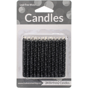 "Black Spirals - Birthday Candles 2.5"" 24/Pkg"