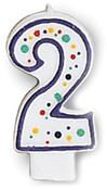 "#2 - Polka Dot Numeral Candle 3"" 1/Pkg"