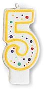 "#5 - Polka Dot Numeral Candle 3"" 1/Pkg"