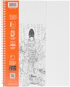 """Grey - Whitelines Wirebound Graph Notebook 11""""X8.5"""" 70 Sheets"""