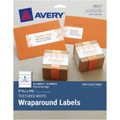 "White - Textured Wraparound Labels 7-17/20""X1-3/4"" 50/Pkg"