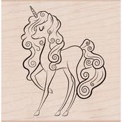 "Unicorn - Hero Arts Mounted Rubber Stamp 2.5""X2.5"""