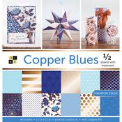 """Copper Blues, Half W/Foil - DCWV Paper Stack 12""""X12"""" 48/Pkg"""