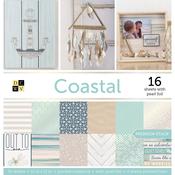 "Coastal; 16 W/Pearl Foil, 4 Linen Prints - DCWV Paper Stack 12""X12"" 48/Pkg"