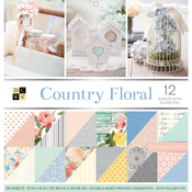 """Country Floral, 12 W/Silver Foil - DCWV Paper Stack Double-Sided 12""""X12"""" 36/Pkg"""