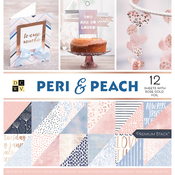 "Peri & Peach, 12 W/Rose Gold - DCWV Paper Stack Double-Sided 12""X12"" 36/Pkg"