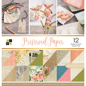 """Preserved Paper, 12 W/Gold Foil - DCWV Paper Stack Double-Sided 12""""X12"""" 36/Pkg"""