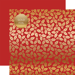 Red Holly & Berries Gold Foil Specialty Sheet - Carta Bella - PRE ORDER