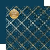 Navy Seasonal Plaid Gold Foil Specialty Sheet - Carta Bella