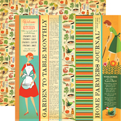 Garden to Table Strips Paper - Country Kitchen - Carta Bella