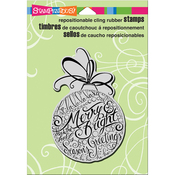"""Merry Ornament - Stampendous Cling Stamp 6.5""""X4.5"""""""