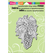 """Pinecone Decor - Stampendous Cling Stamp 6.5""""X4.5"""""""