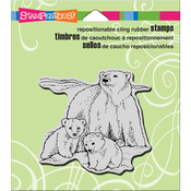 """Polar Bear Play - Stampendous Cling Stamp 4.75""""X4.5"""""""