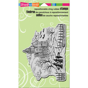 """Haunted Hill - Stampendous Cling Stamp 7.75""""X4.5"""""""