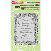 "Pinecone Greeting - Stampendous Cling Stamp 7.75""X4.5"""