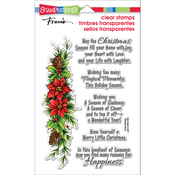 """Poinsettia Wishes - Stampendous Perfectly Clear Stamps 7.25""""X4.625"""""""