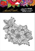 "Festive Flora - Stampendous Laurel Burch Cling Stamp 6.5""X4.5"""