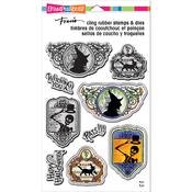 "Halloween Labels - Stampendous Cling Stamp & Die Set 9""X5.25"""