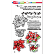 """Wrapped Poinsettia - Stampendous Cling Stamp & Die Set 9""""X5.25"""""""