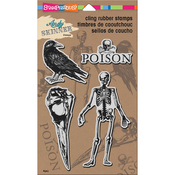 "Jumbo Birds & Bones - Stampendous Andy Skinner Cling Stamps 9""X5.25"""