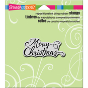 "Merry Scrolls - Stampendous Cling Stamp 4.75""X4.5"""