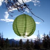 "Green - Soji Original Round Nylon Solar Lantern 10"""