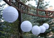 "White W/Amber Light - Soji Original Round Nylon Solar Lantern 10"""